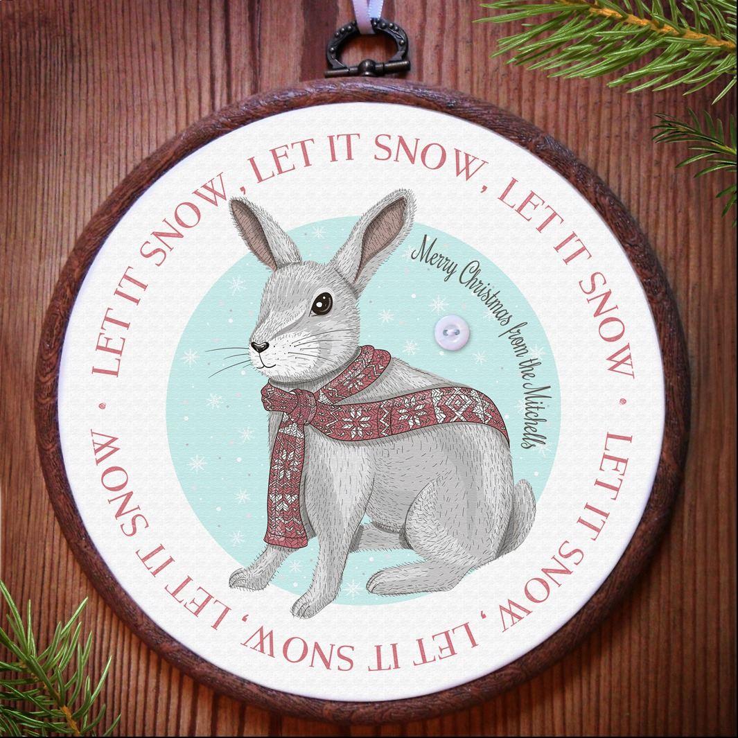 Personalised Christmas Rabbit Embroidery Hoop Print | personalised handmade Christmas decoration