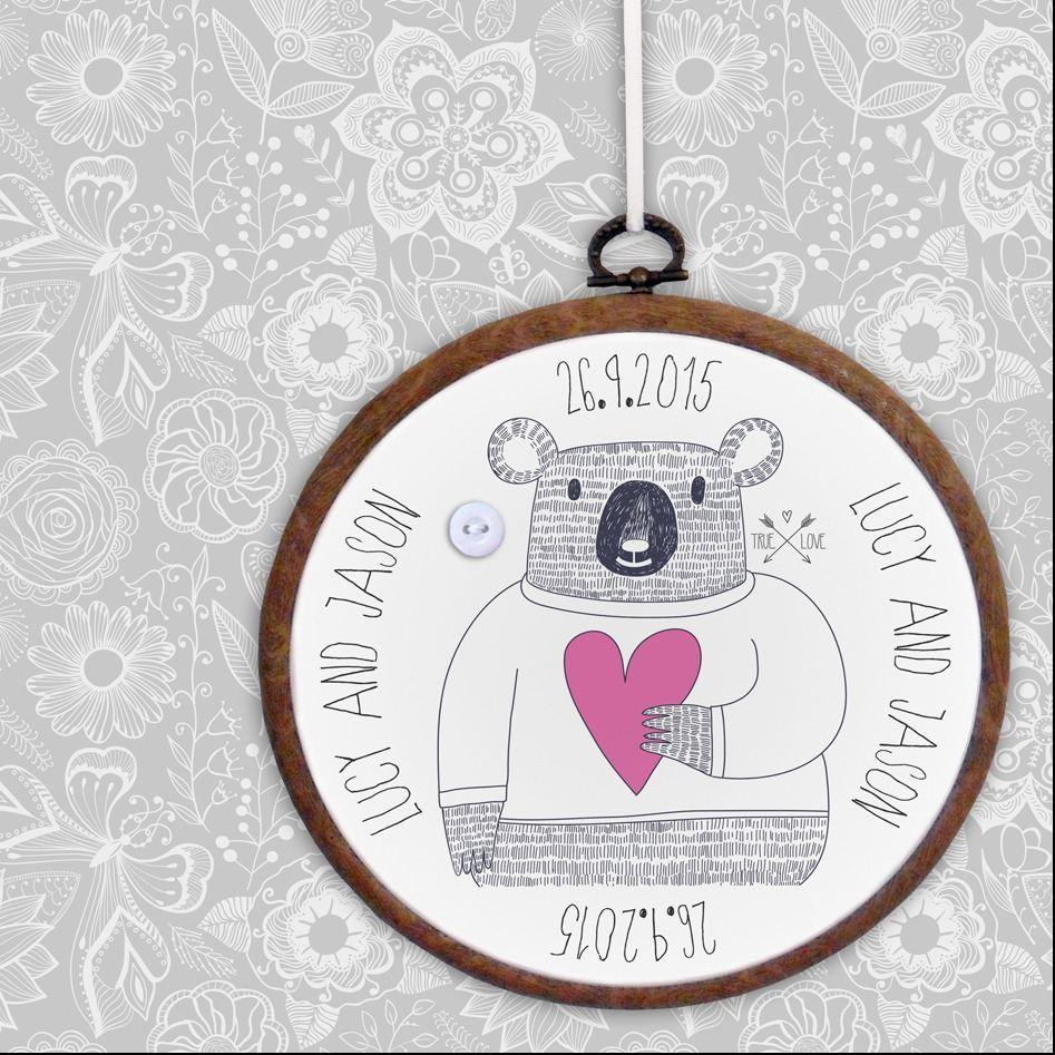 Personalised embroidery hoop prints