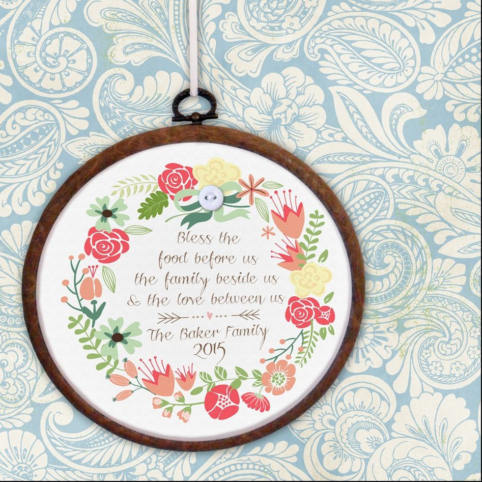 Personalised embroidery hoop print family gift