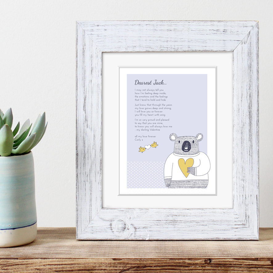 Personalised Love Poem valentine gift