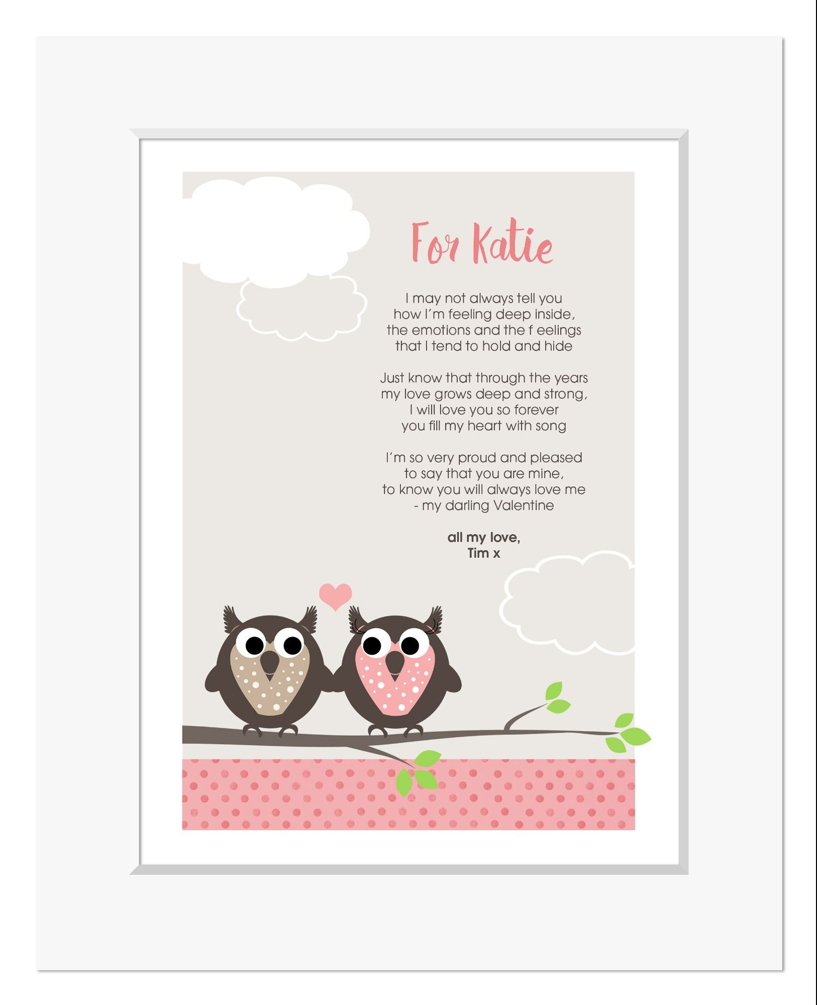 Owls personalised romantic love poem print