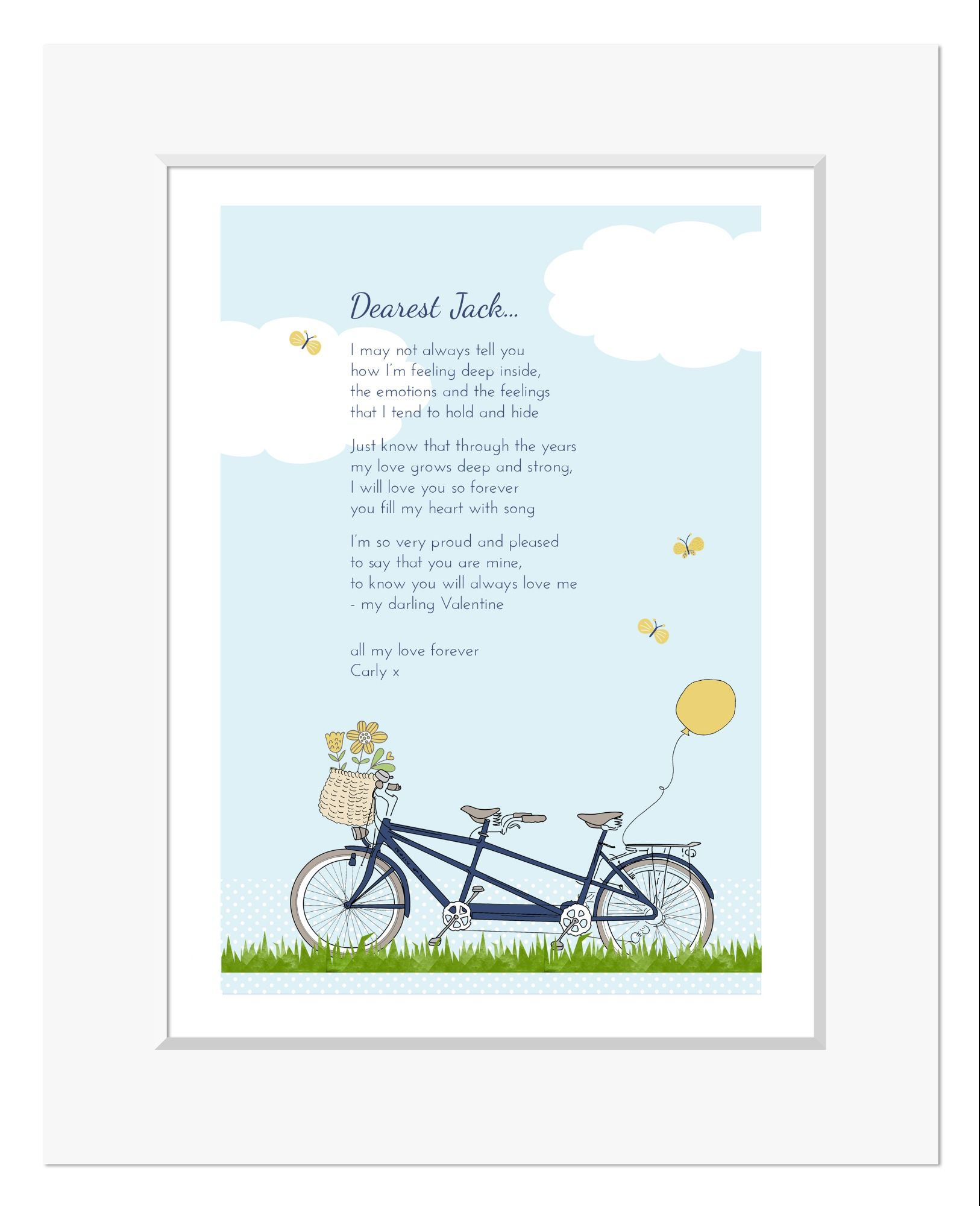 Bicycle Built for Two personalised love poem print