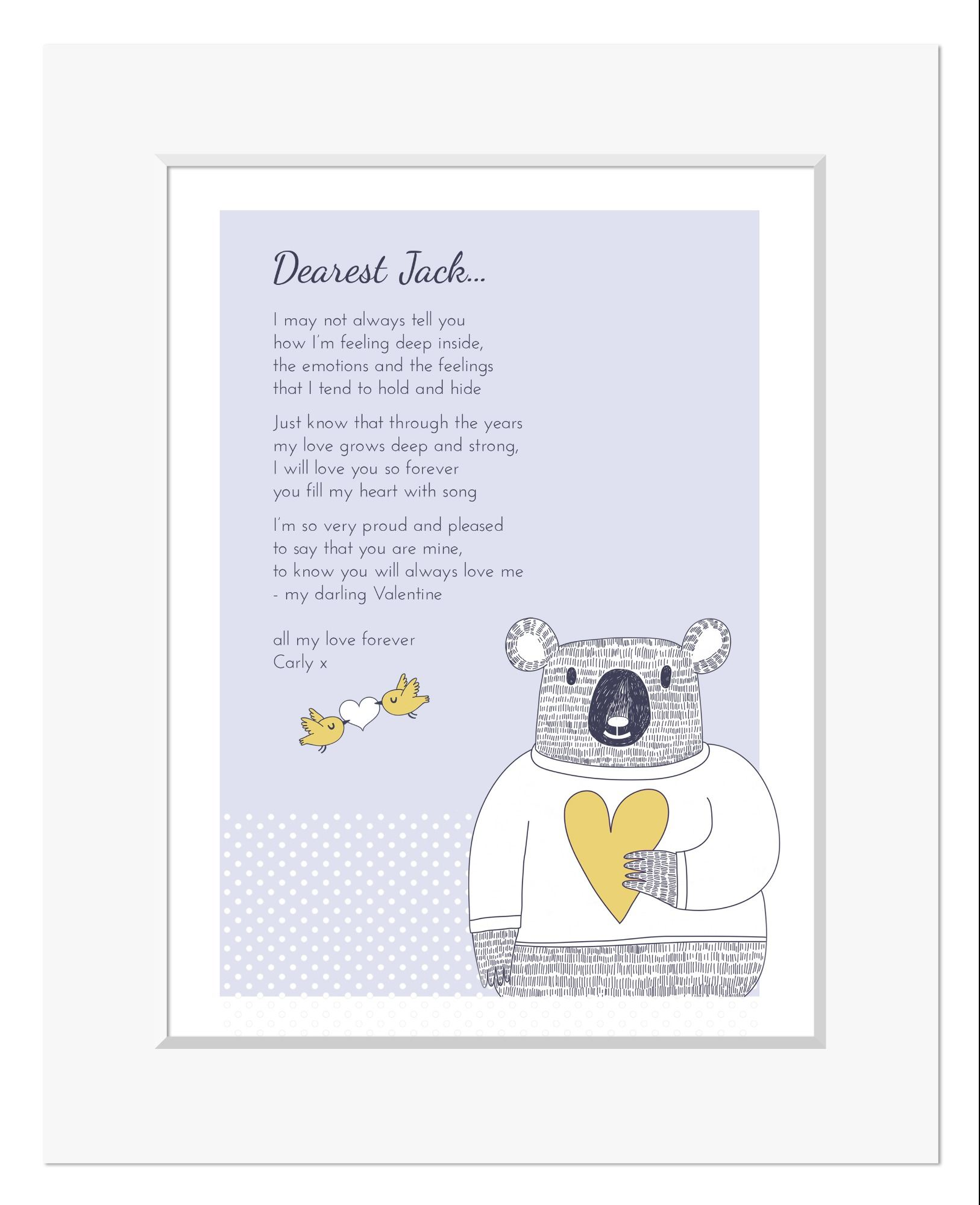 Love Bear personalised love poem print