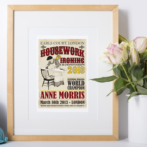 Housework Housewife personalised vintage print
