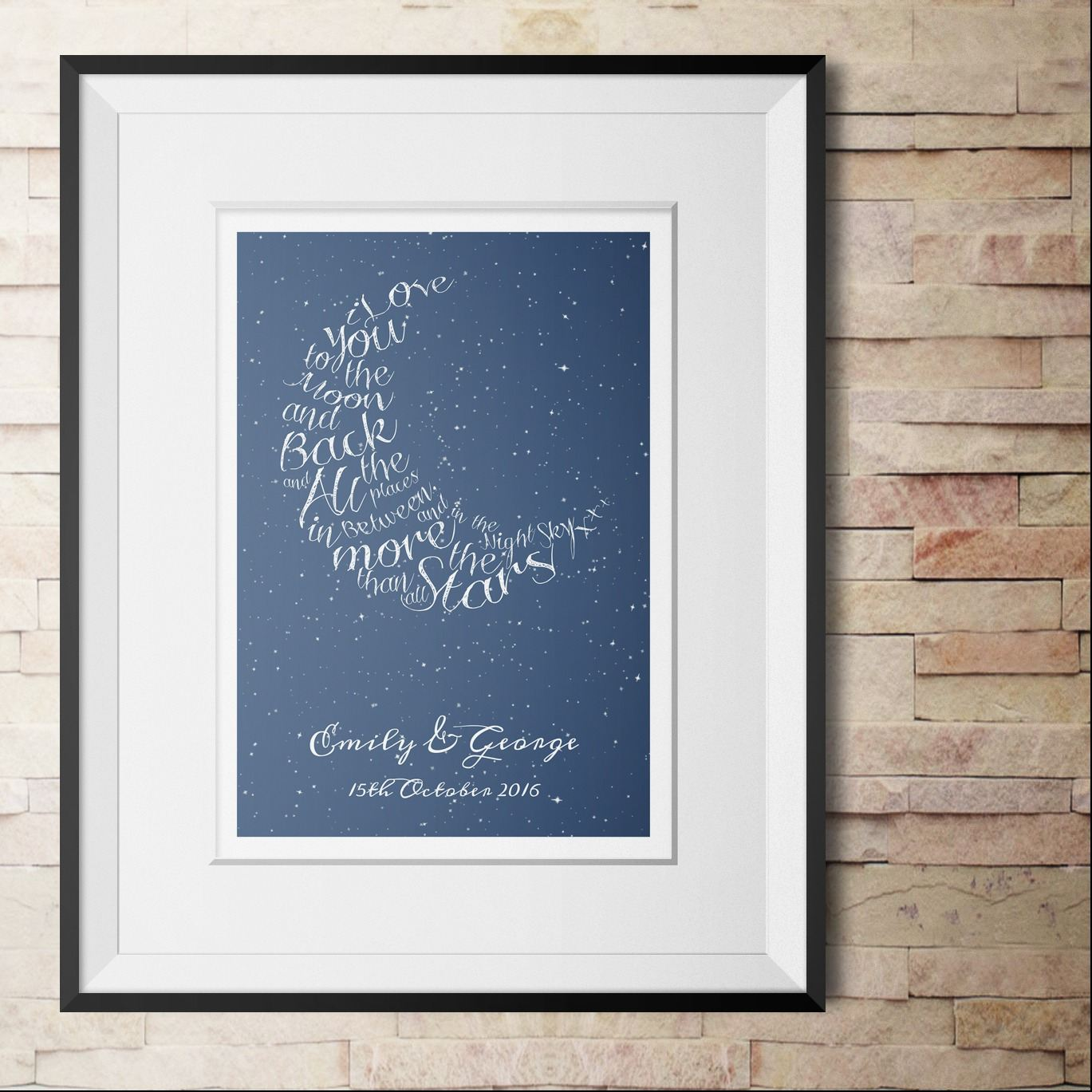 Written in the Stars personalised love print word art