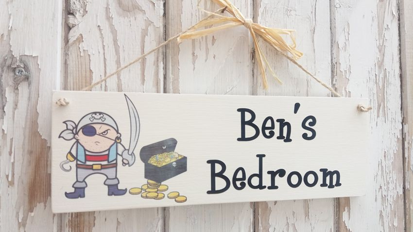 Personalised Wooden Pirate Bedroom Plaque