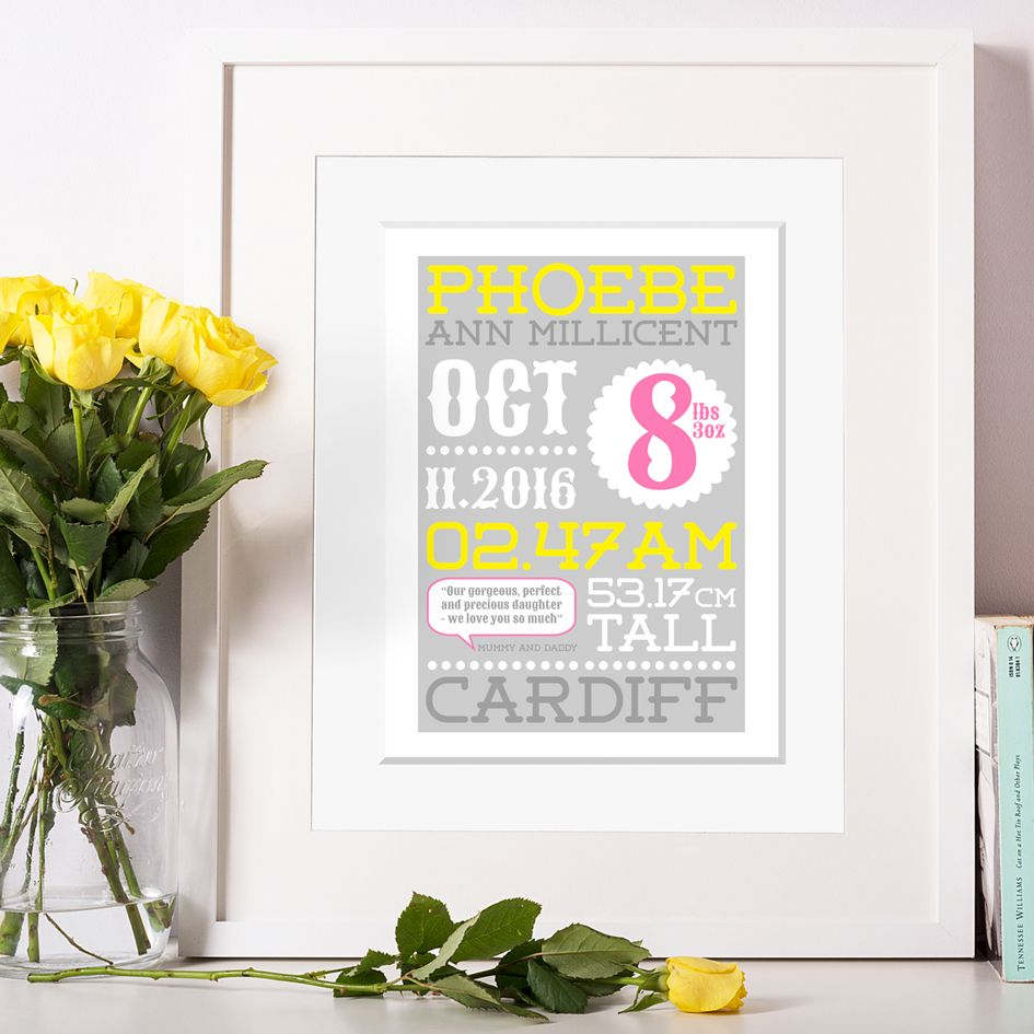 Personalised New Baby Birth Prints