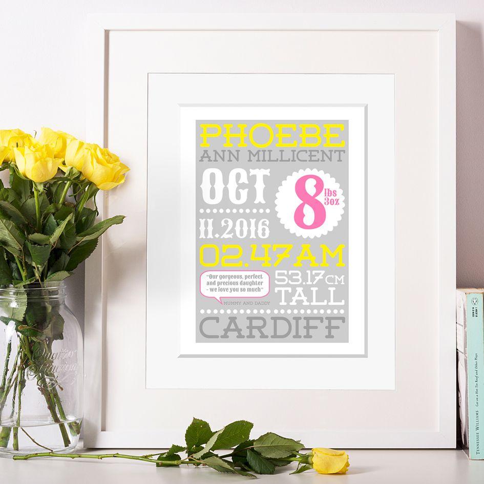 Personalised New Baby Birth Prints