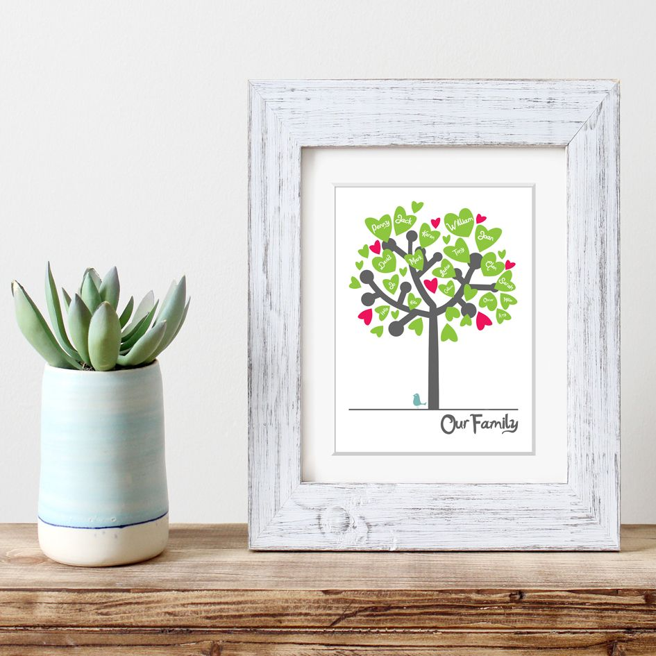 personalised family tree print adoption gift