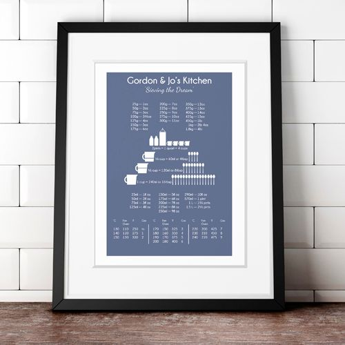 Kitchen Baking Gift Personalised Cooking Conversion Chart Prints