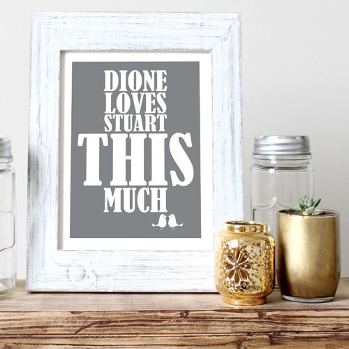 I Love You This Much personalised word art print