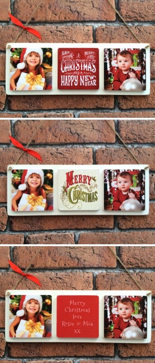 Christmas wooden handmade photo plaque gift
