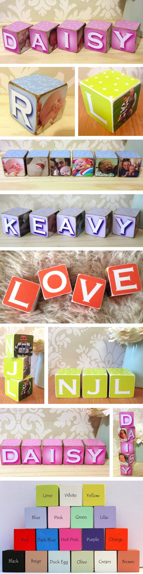 Personalised wooden name photo blocks