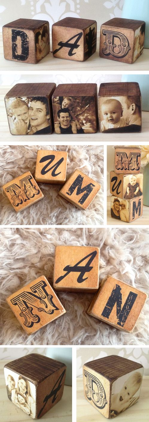 Personalised wooden Mum Dad Nan photo blocks