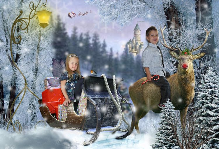 Sleigh Ride Christmas fantasy photo portrait