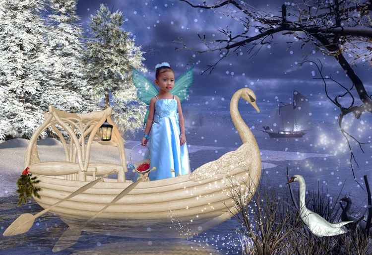Winter Lake Christmas fantasy photo portrait