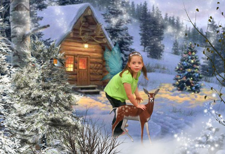 Snowy Cottage Fairy Christmas fantasy photo portrait