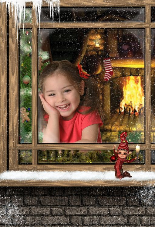 Christmas Window snow fantasy photo portrait gift