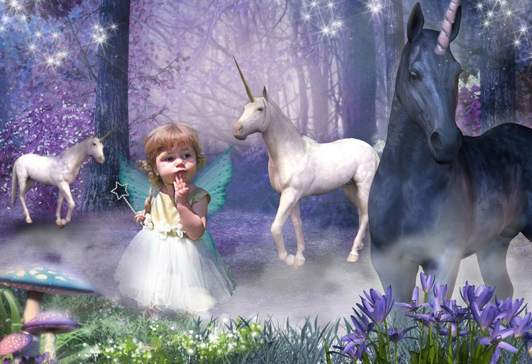 Unicorn Forest fairy tale fantasy photo portrait