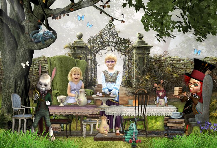 Mad hatter tea party Alice in Wonderland fairy tale fantasy photo portrait gift