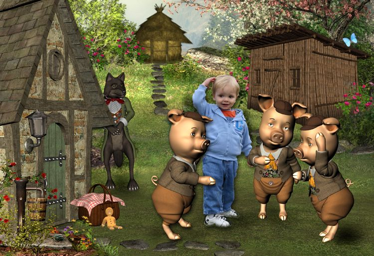 The Three Little Pigs fairy tale fantasy photo portrait