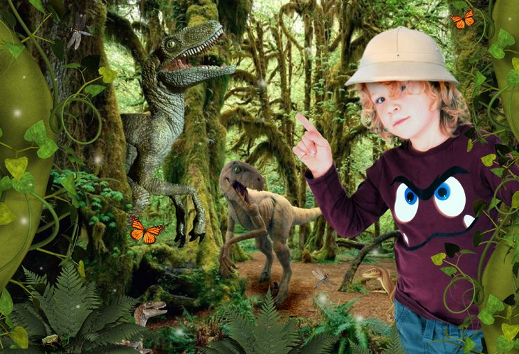 Dino Hunter dinosaur fantasy photo portrait gift