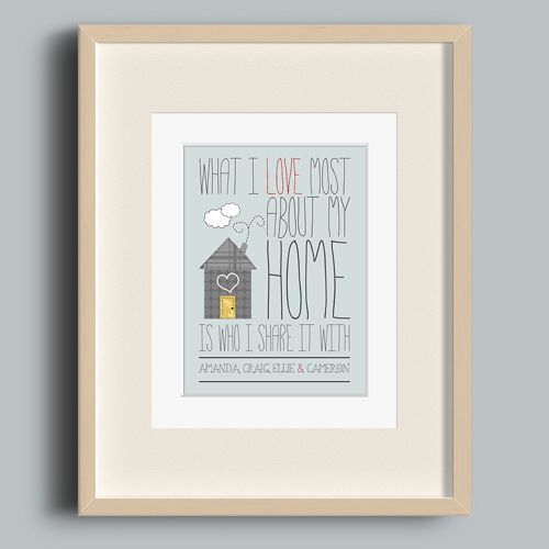 I love my home personalised love print