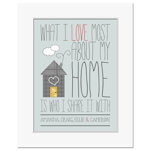 What I love most about my home personalised love print