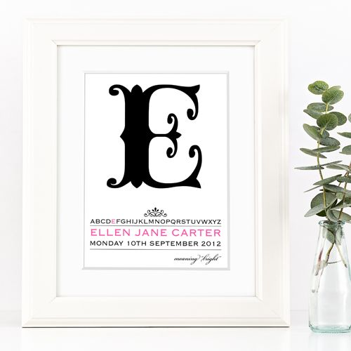 Personalised Alpha nursery print | bespoke baby christening gifts from PhotoFairytales