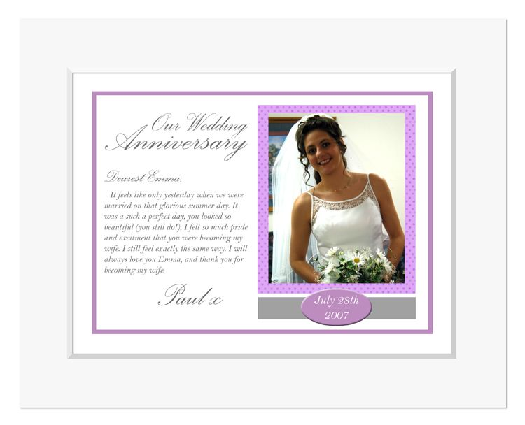 Wedding personalised message photo print