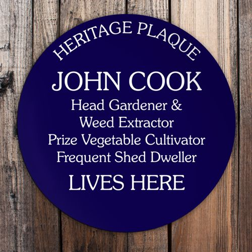 Personalised Blue Heritage Plaque gift for gardeners