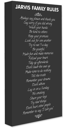 Personalised Family Rules Canvas Prints