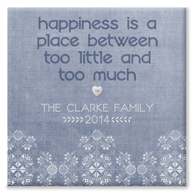 Happiness personalised canvas print