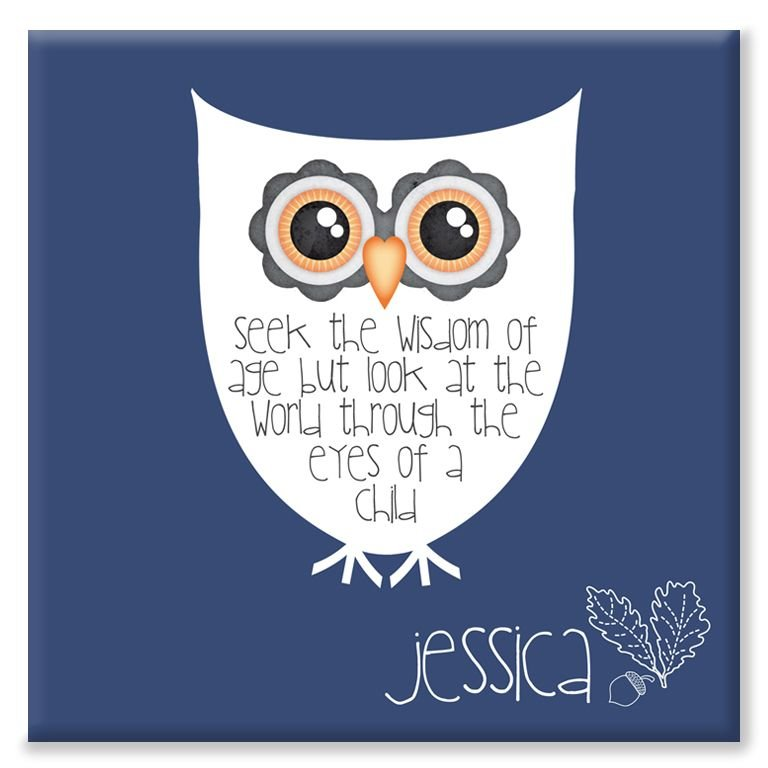 Wise Owl personalised canvas art