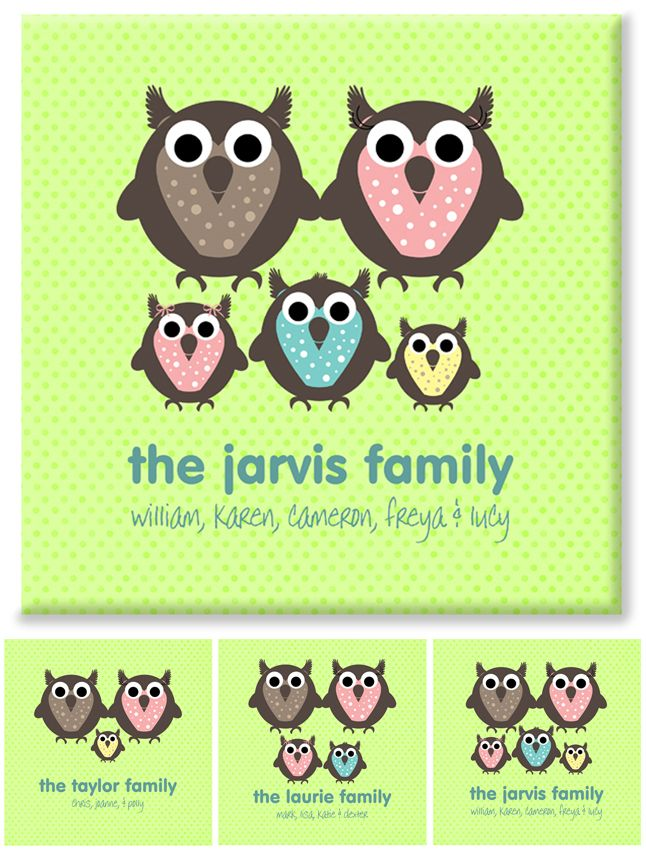Owl Family personalised canvas print gift