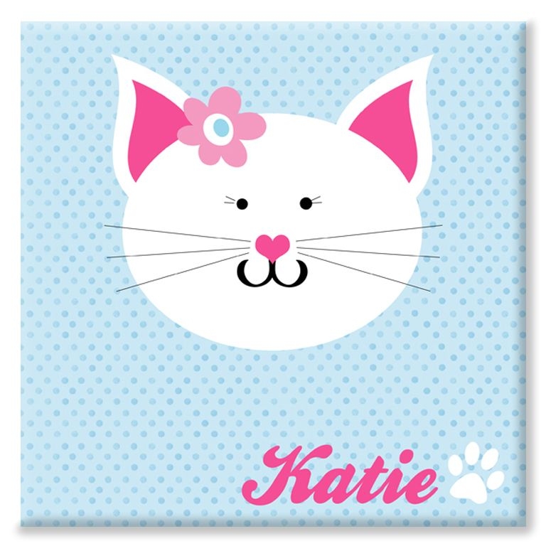Kitten cat personalised name canvas print