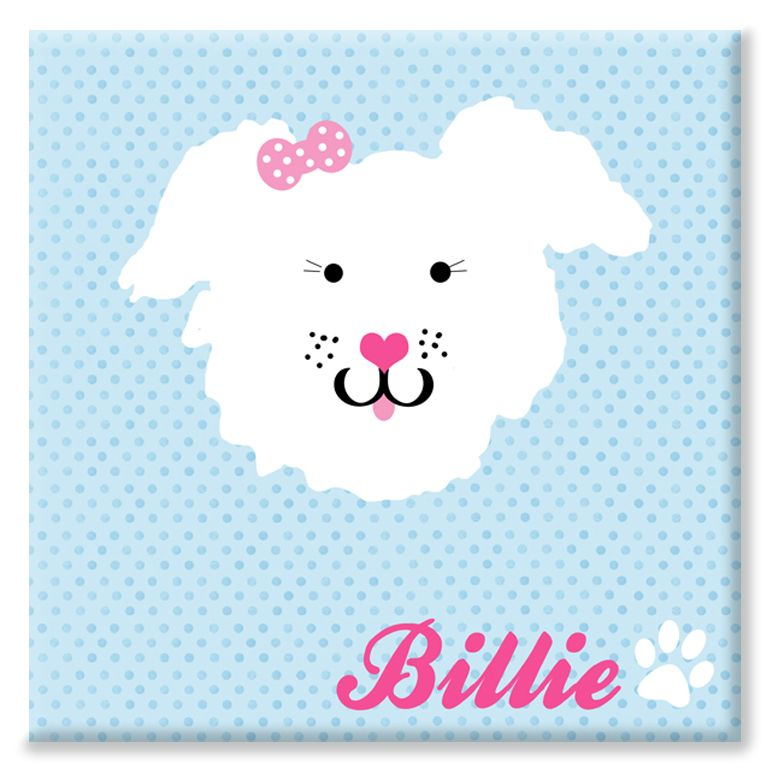 Puppy dog personalised canvas print