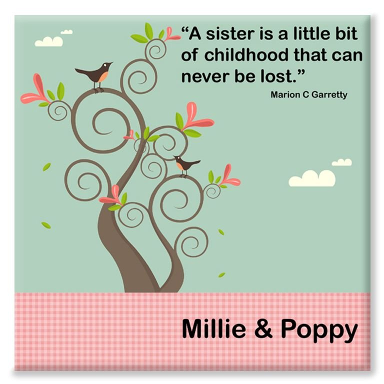 Sisters personalised canvas gift