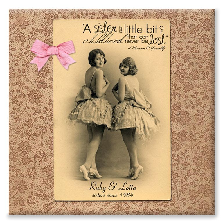 Vintage Sisters personalised canvas print