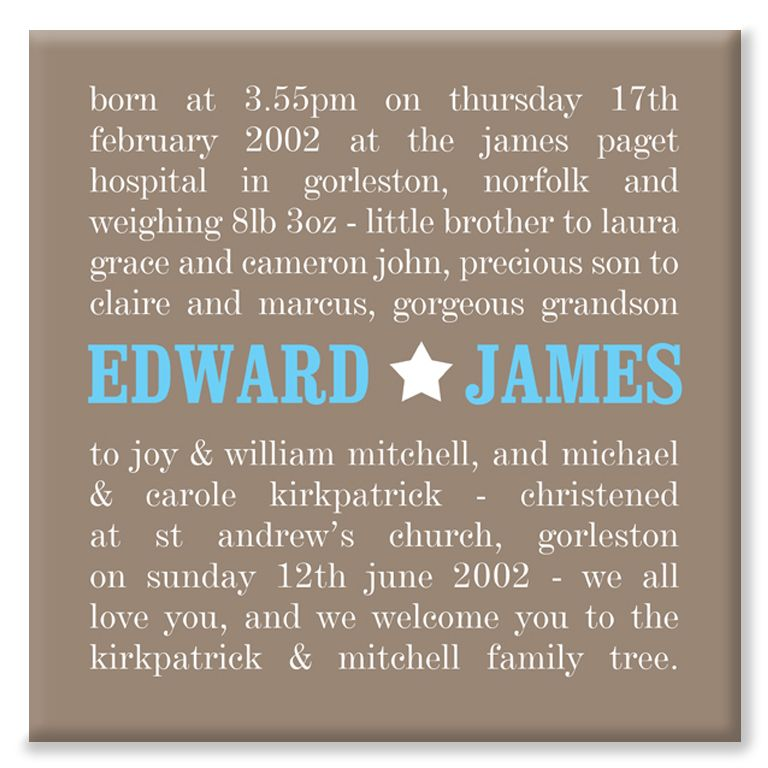 Typographic personalised new baby canvas print