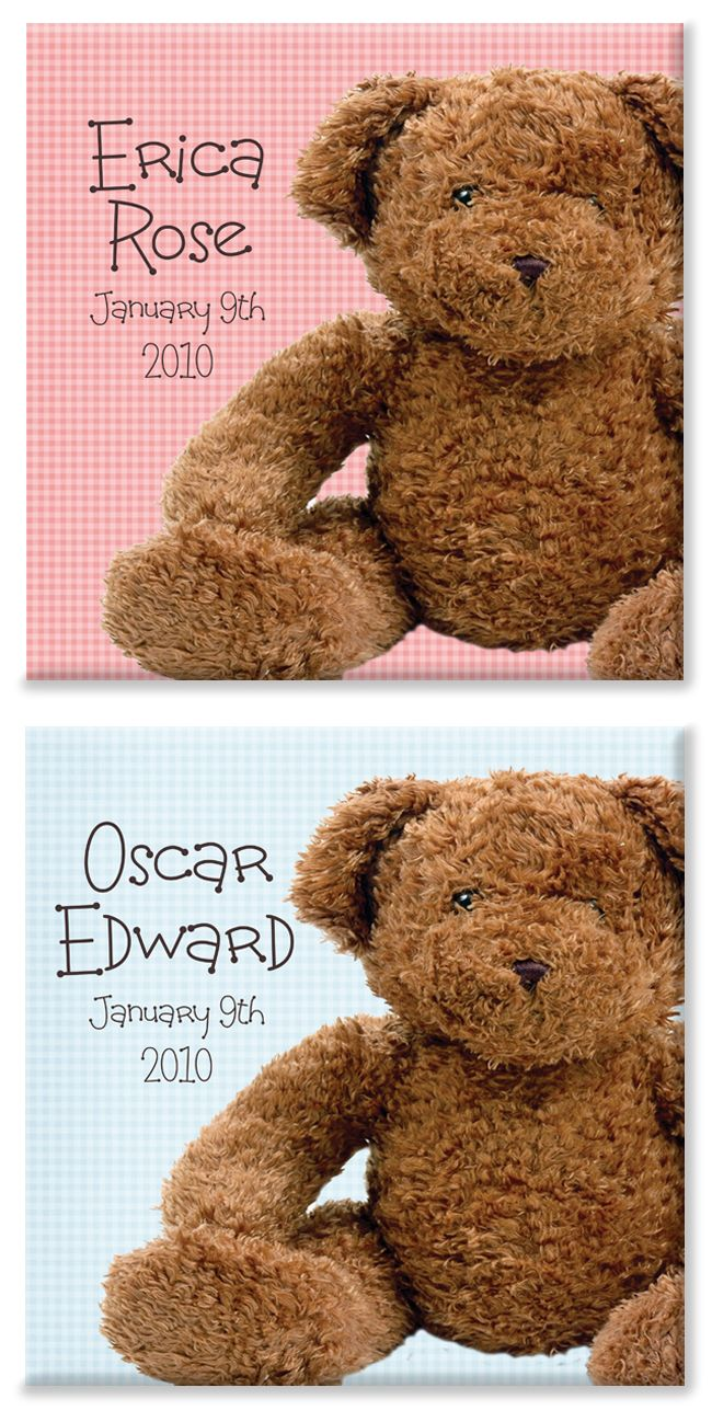 happy Bear personalised new baby canvas print