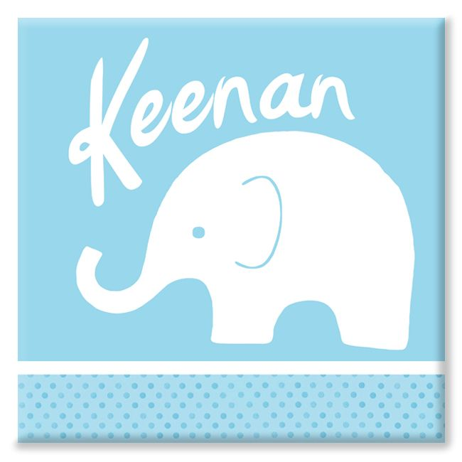 Elephant personalised name canvas print