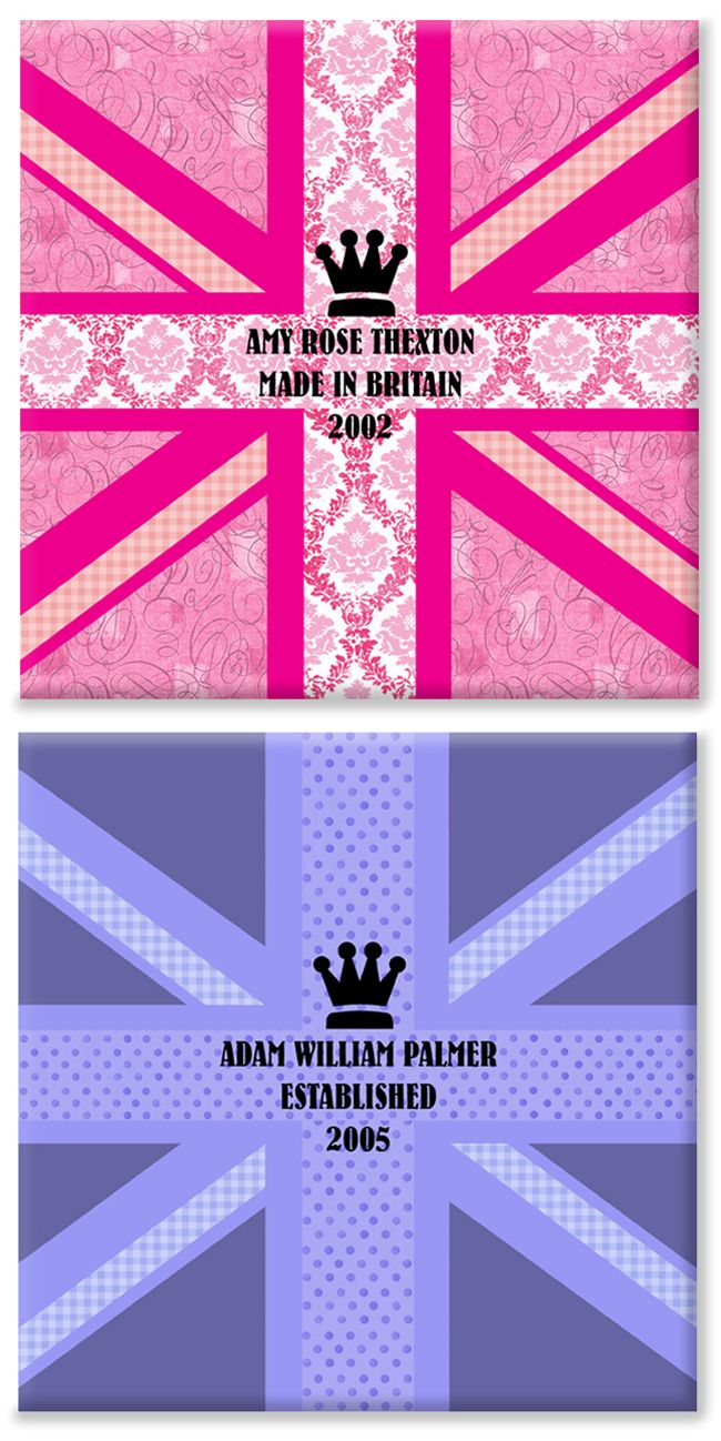 Made in Britain personalised flag canvas print pair