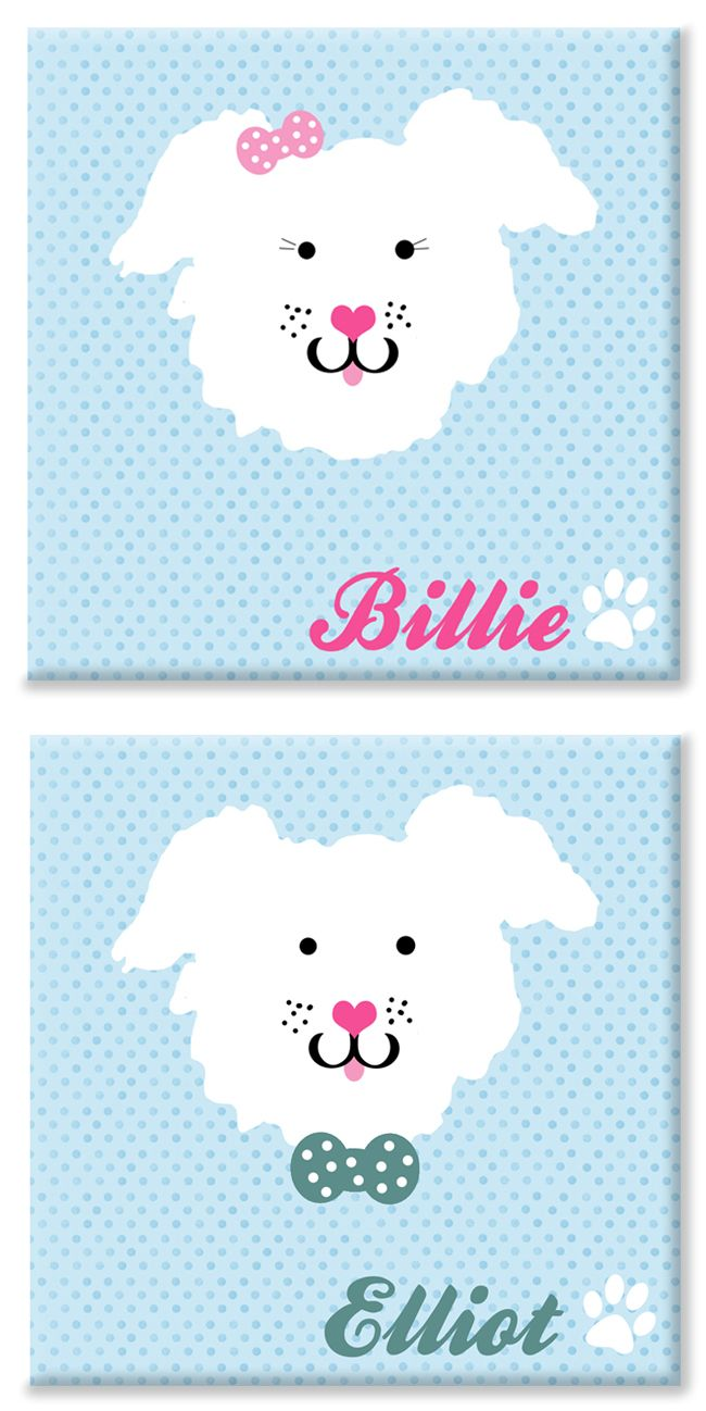 Puppy personalised name canvas