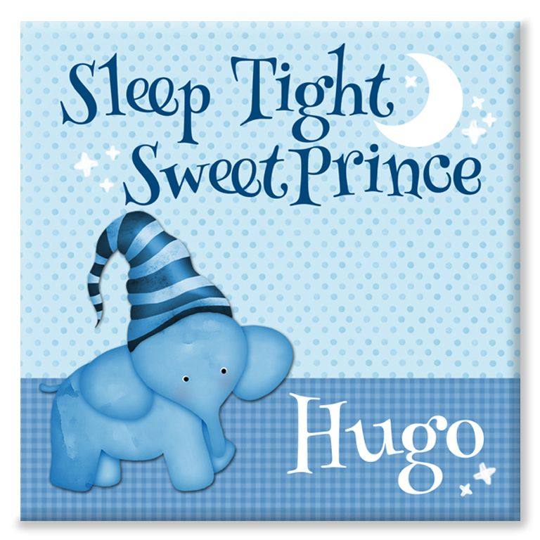 Sleep Tight sweet prince personalised baby canvas