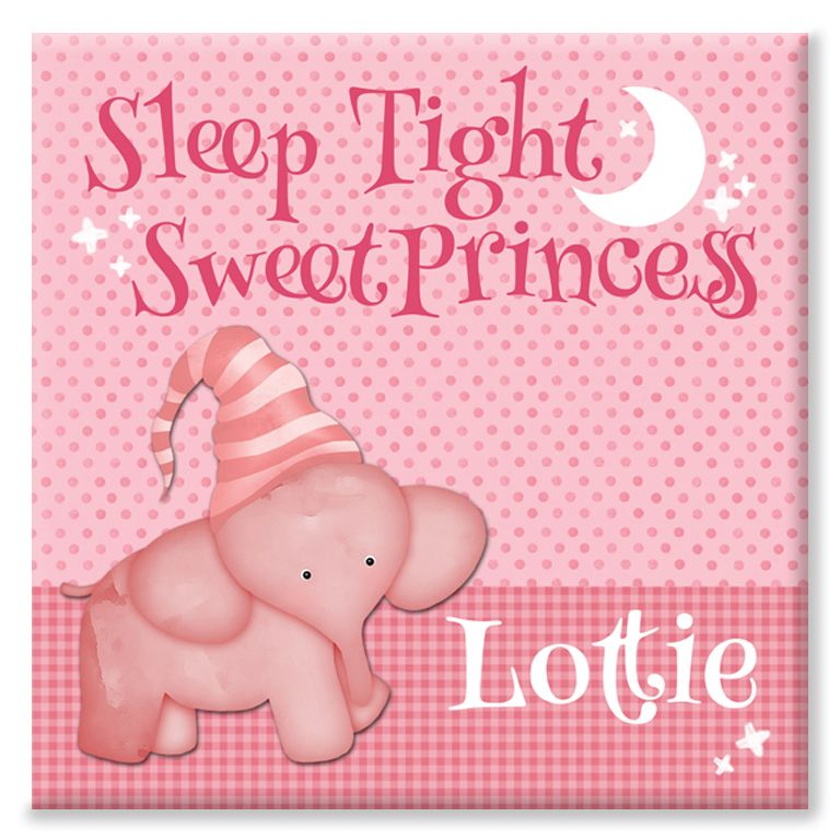 Sleep Tight Sweet Princess personalised canvas print for baby