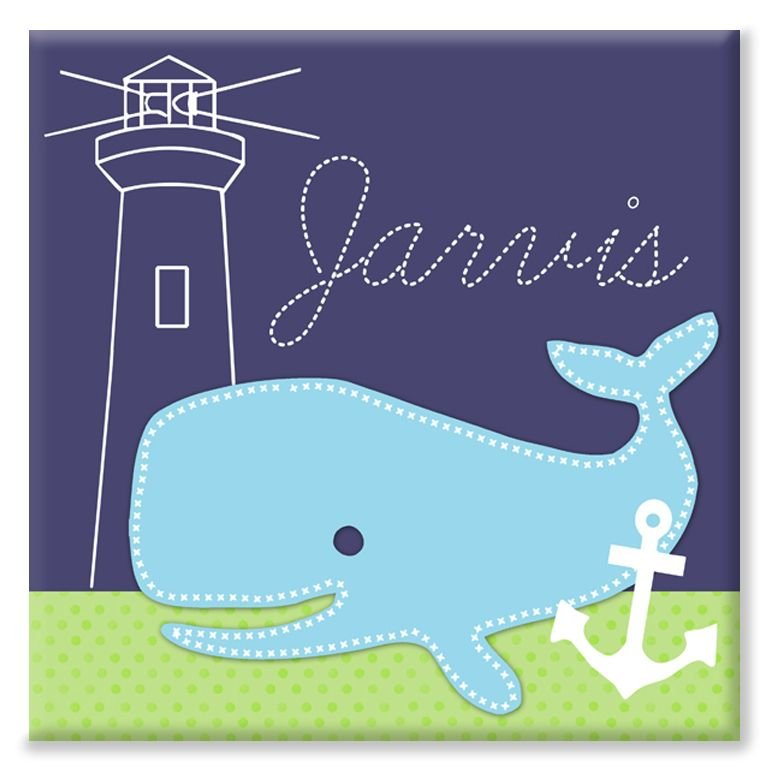 Whale nautical name canvas personalised