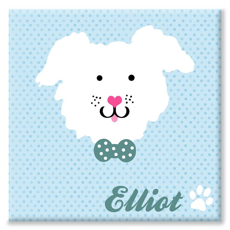 Puppy personalised name canvas print