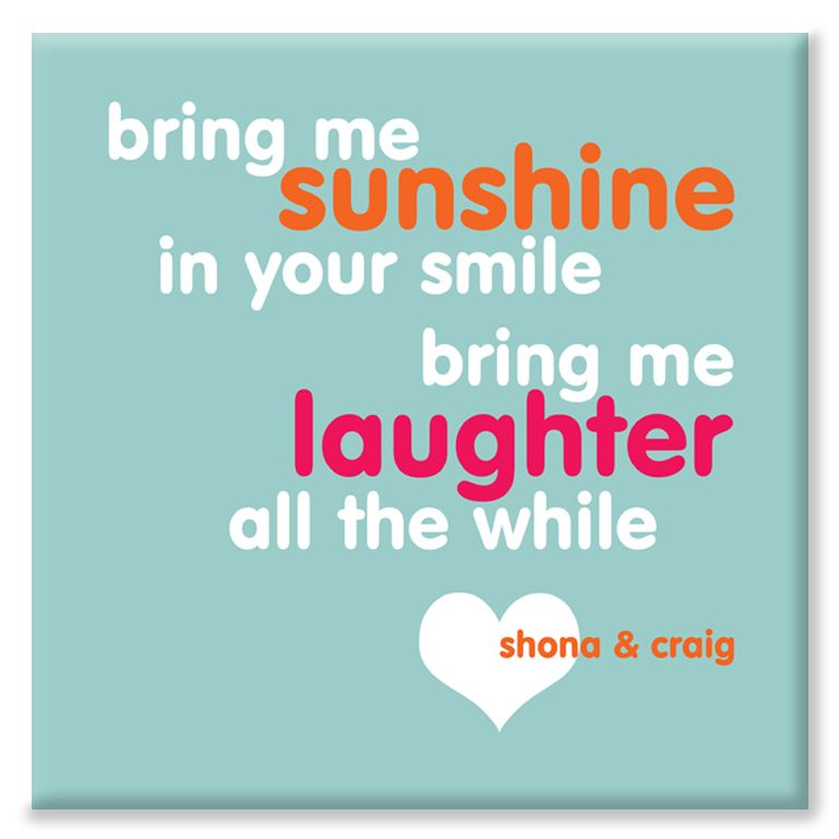 Bring Me Sunshine personalised canvas print love
