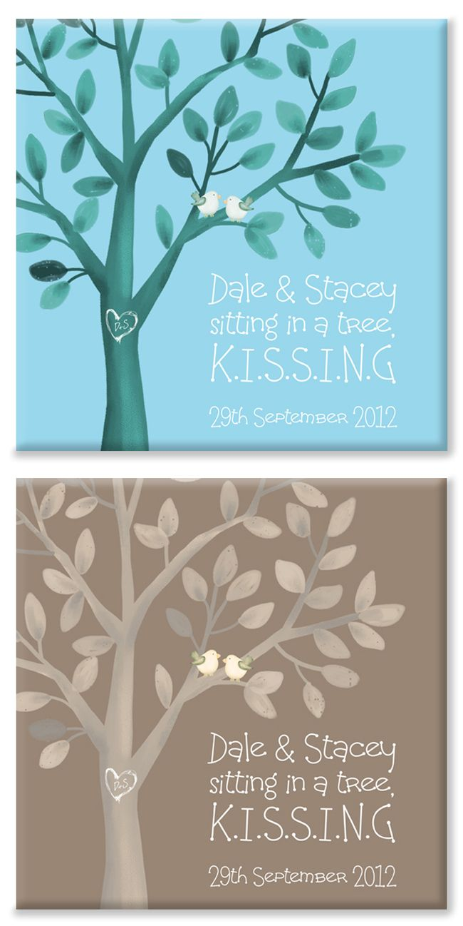 Kissing Birds personalised canvas print pair
